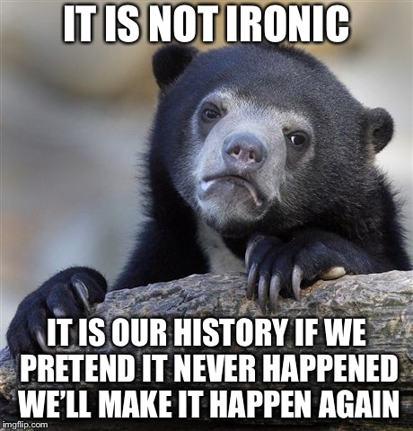 Confession Bear Meme | IT IS NOT IRONIC IT IS OUR HISTORY IF WE PRETEND IT NEVER HAPPENED WE'LL MAKE IT HAPPEN AGAIN | image tagged in memes,confession bear | made w/ Imgflip meme maker