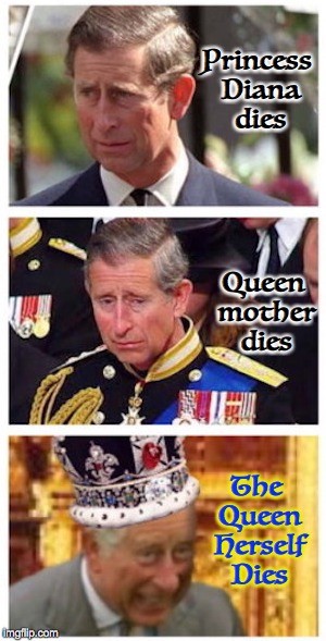 Royal Succession | Princess Diana dies Queen mother dies The Queen Herself Dies | image tagged in prince charles,royals | made w/ Imgflip meme maker