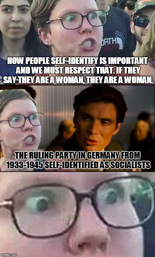 Inception Liberal | HOW PEOPLE SELF-IDENTIFY IS IMPORTANT AND WE MUST RESPECT THAT. IF THEY SAY THEY ARE A WOMAN, THEY ARE A WOMAN. THE RULING PARTY IN GERMANY  | image tagged in inception liberal | made w/ Imgflip meme maker