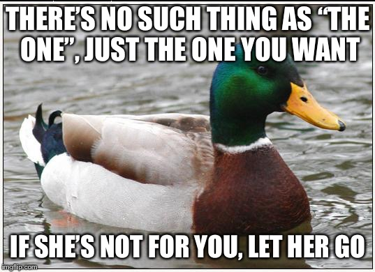 "Actual Advice Mallard Meme | THERE'S NO SUCH THING AS ""THE ONE"", JUST THE ONE YOU WANT IF SHE'S NOT FOR YOU, LET HER GO 