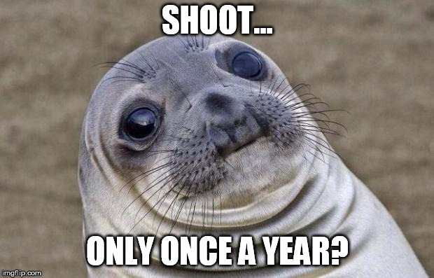 Awkward Moment Sealion Meme | SHOOT... ONLY ONCE A YEAR? | image tagged in memes,awkward moment sealion | made w/ Imgflip meme maker