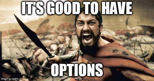 Sparta Leonidas Meme | IT'S GOOD TO HAVE OPTIONS | image tagged in memes,sparta leonidas | made w/ Imgflip meme maker