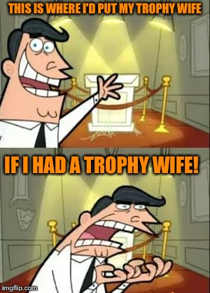 This Is Where I'd Put My Trophy If I Had One Meme | THIS IS WHERE I'D PUT MY TROPHY WIFE IF I HAD A TROPHY WIFE! | image tagged in memes,this is where i'd put my trophy if i had one | made w/ Imgflip meme maker