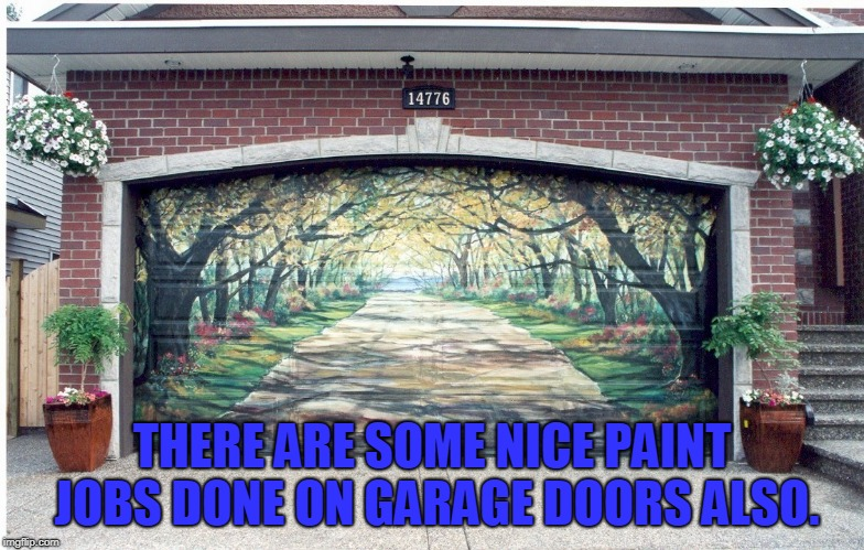 THERE ARE SOME NICE PAINT JOBS DONE ON GARAGE DOORS ALSO. | image tagged in garage door | made w/ Imgflip meme maker