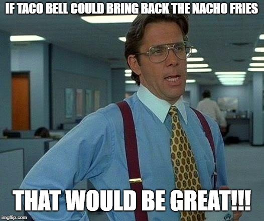 That Would Be Great Meme | IF TACO BELL COULD BRING BACK THE NACHO FRIES THAT WOULD BE GREAT!!! | image tagged in memes,that would be great | made w/ Imgflip meme maker