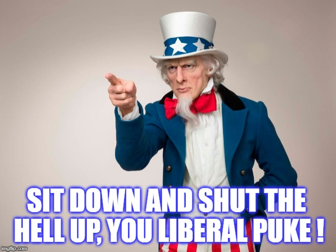 Uncle Sam has had enough | image tagged in butthurt liberals,liberal vs conservative,patriotic | made w/ Imgflip meme maker