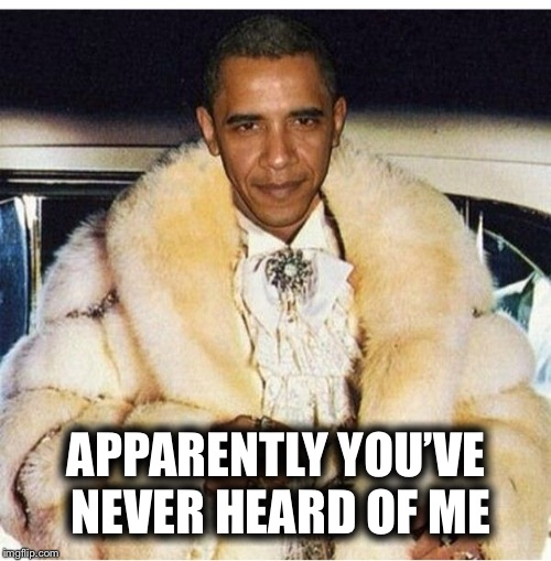 Pimp Daddy Obama | APPARENTLY YOU'VE NEVER HEARD OF ME | image tagged in pimp daddy obama | made w/ Imgflip meme maker