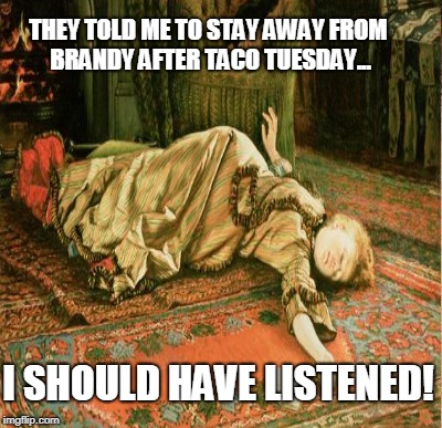 THEY TOLD ME TO STAY AWAY FROM BRANDY AFTER TACO TUESDAY... I SHOULD HAVE LISTENED! | made w/ Imgflip meme maker