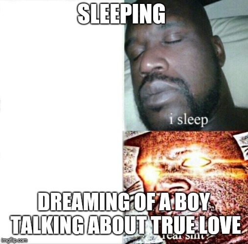 Sleeping Shaq Meme | SLEEPING DREAMING OF A BOY TALKING ABOUT TRUE LOVE | image tagged in memes,sleeping shaq | made w/ Imgflip meme maker