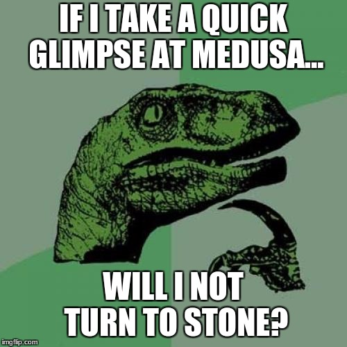 Philosoraptor Meme | IF I TAKE A QUICK GLIMPSE AT MEDUSA... WILL I NOT TURN TO STONE? | image tagged in memes,philosoraptor | made w/ Imgflip meme maker