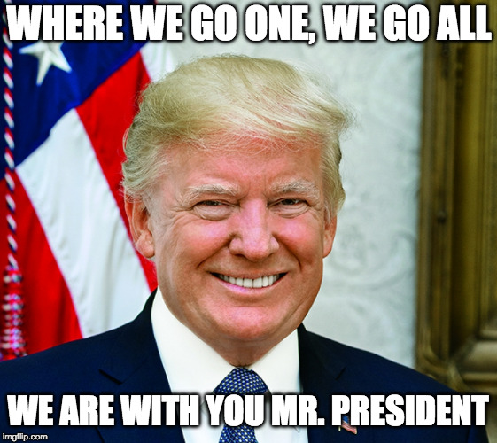 WHERE WE GO ONE, WE GO ALL WE ARE WITH YOU MR. PRESIDENT | image tagged in president trump | made w/ Imgflip meme maker