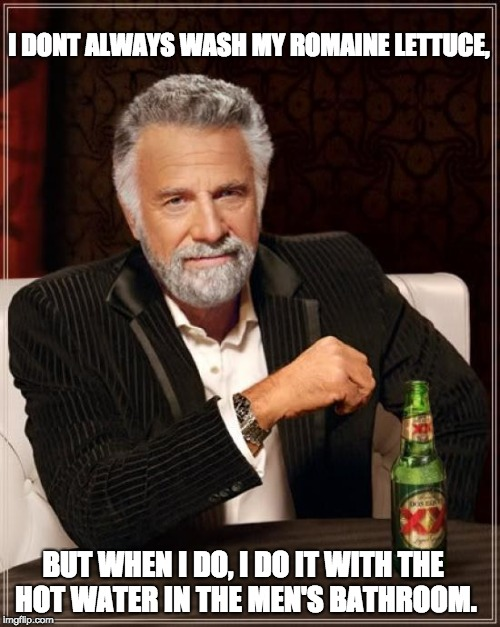 The Most Interesting Man In The World |  I DONT ALWAYS WASH MY ROMAINE LETTUCE, BUT WHEN I DO, I DO IT WITH THE HOT WATER IN THE MEN'S BATHROOM. | image tagged in memes,the most interesting man in the world,romaine,romaine lettuce,capital one | made w/ Imgflip meme maker