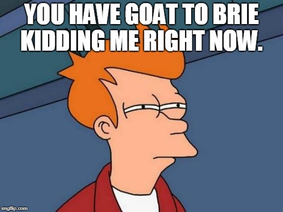 Futurama Fry Meme | YOU HAVE GOAT TO BRIE KIDDING ME RIGHT NOW. | image tagged in memes,futurama fry | made w/ Imgflip meme maker