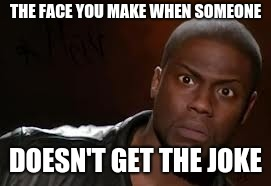 Kevin Hart Meme | THE FACE YOU MAKE WHEN SOMEONE DOESN'T GET THE JOKE | image tagged in memes,kevin hart the hell | made w/ Imgflip meme maker