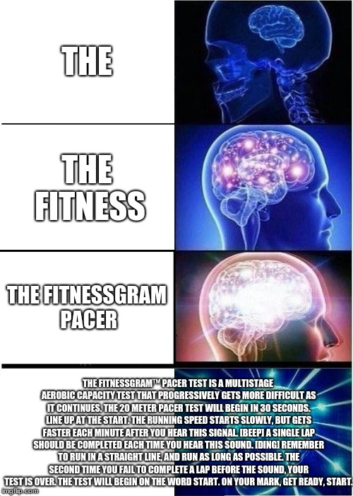 Expanding Brain Meme | THE THE FITNESS THE FITNESSGRAM PACER THE FITNESSGRAM™ PACER TEST IS A MULTISTAGE AEROBIC CAPACITY TEST THAT PROGRESSIVELY GETS MORE DIFFICU | image tagged in memes,expanding brain | made w/ Imgflip meme maker