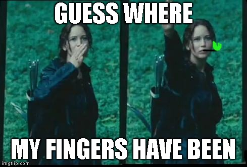 Katniss Respect | GUESS WHERE MY FINGERS HAVE BEEN | image tagged in katniss respect | made w/ Imgflip meme maker