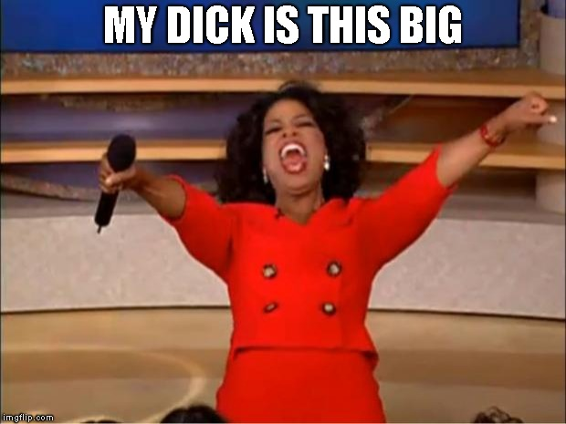 Oprah You Get A Meme | MY DICK IS THIS BIG | image tagged in memes,oprah you get a | made w/ Imgflip meme maker
