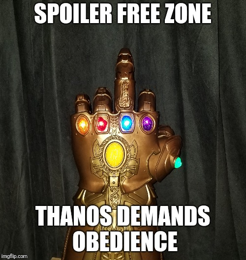 Spoiler free zone | SPOILER FREE ZONE THANOS DEMANDS OBEDIENCE | image tagged in marvel,avengers infinity war | made w/ Imgflip meme maker