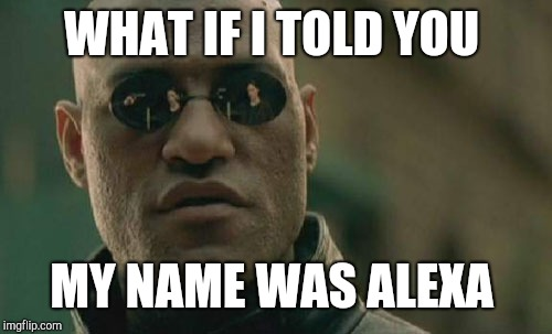 Matrix Morpheus Meme | WHAT IF I TOLD YOU MY NAME WAS ALEXA | image tagged in memes,matrix morpheus | made w/ Imgflip meme maker