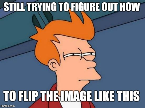 Futurama Fry Meme | STILL TRYING TO FIGURE OUT HOW TO FLIP THE IMAGE LIKE THIS | image tagged in memes,futurama fry | made w/ Imgflip meme maker