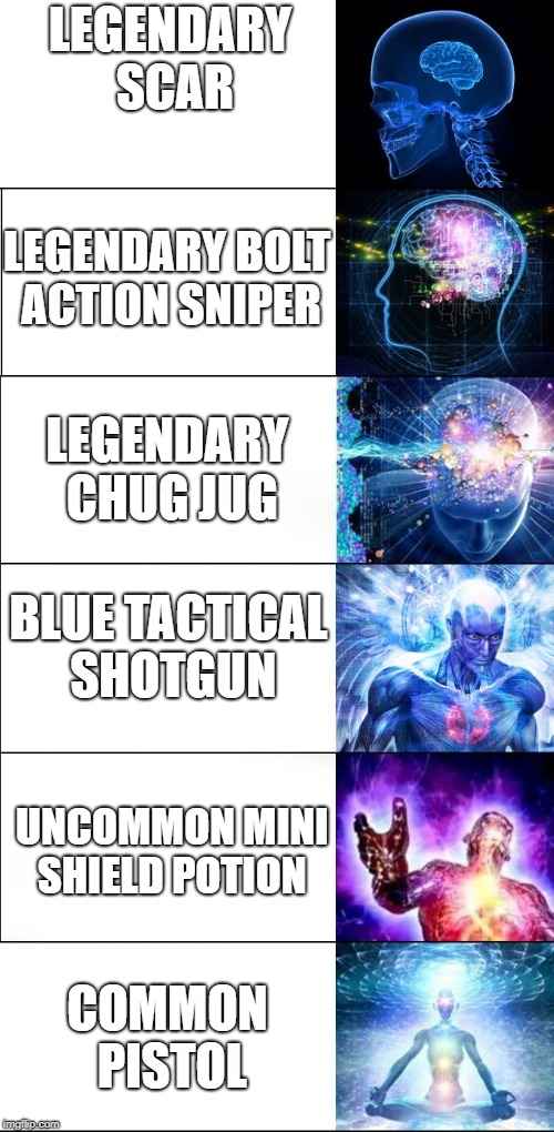Expanding Brain Meme (6 steps) | LEGENDARY SCAR BLUE TACTICAL SHOTGUN LEGENDARY BOLT ACTION SNIPER LEGENDARY CHUG JUG UNCOMMON MINI SHIELD POTION COMMON PISTOL | image tagged in expanding brain meme 6 steps | made w/ Imgflip meme maker