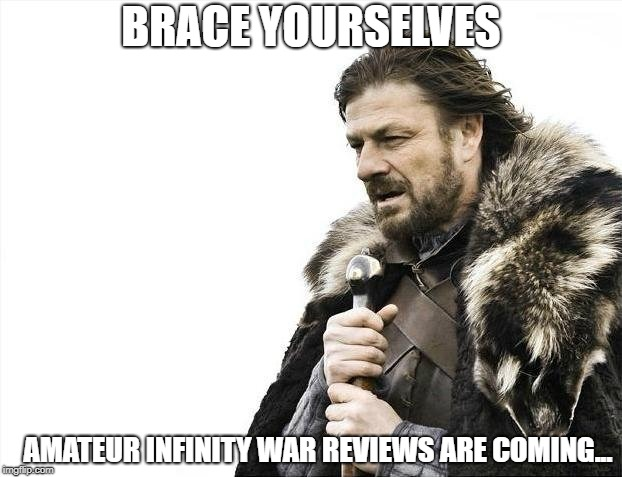 Brace Yourselves X is Coming Meme | BRACE YOURSELVES AMATEUR INFINITY WAR REVIEWS ARE COMING... | image tagged in memes,brace yourselves x is coming | made w/ Imgflip meme maker