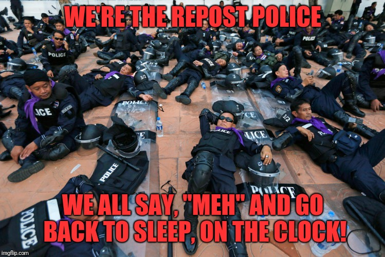 "Imgflip's Repost Unit  | WE'RE THE REPOST POLICE WE ALL SAY, ""MEH"" AND GO BACK TO SLEEP, ON THE CLOCK! 