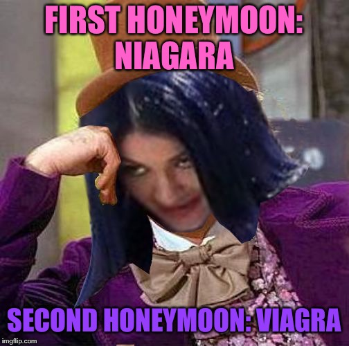 Creepy Condescending Mima | FIRST HONEYMOON: NIAGARA SECOND HONEYMOON: VIAGRA | image tagged in creepy condescending mima | made w/ Imgflip meme maker