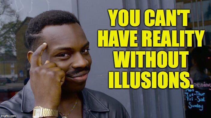 Roll Safe Think About It Meme | YOU CAN'T HAVE REALITY WITHOUT ILLUSIONS. | image tagged in memes,roll safe think about it | made w/ Imgflip meme maker