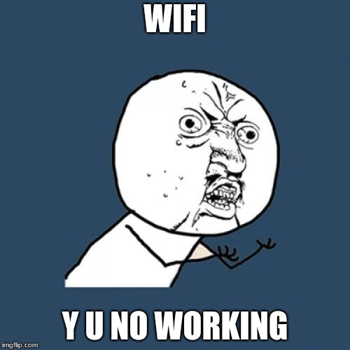 Y U No Meme | WIFI Y U NO WORKING | image tagged in memes,y u no | made w/ Imgflip meme maker