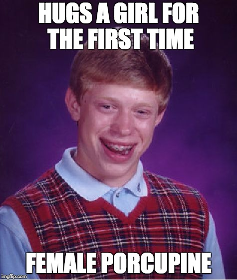 Bad Luck Brian Meme | HUGS A GIRL FOR THE FIRST TIME FEMALE PORCUPINE | image tagged in memes,bad luck brian | made w/ Imgflip meme maker