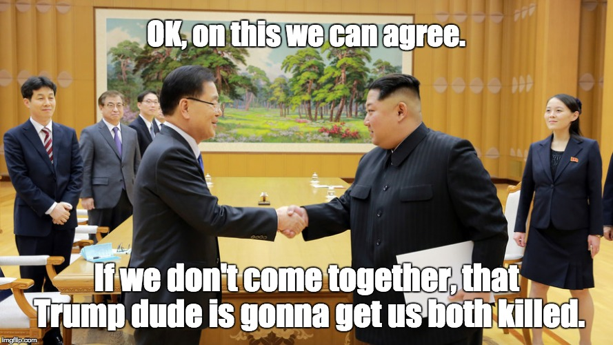 Moon Jae-in (left) shakes hands with Kim Jong Un | OK, on this we can agree. If we don't come together, that Trump dude is gonna get us both killed. | image tagged in north korea south korea denuclearization agreement | made w/ Imgflip meme maker