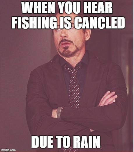 Face You Make Robert Downey Jr Meme | WHEN YOU HEAR FISHING IS CANCLED DUE TO RAIN | image tagged in memes,face you make robert downey jr | made w/ Imgflip meme maker