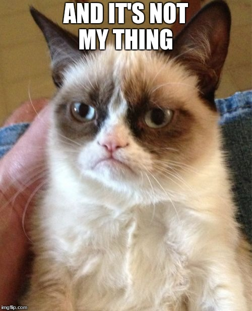 AND IT'S NOT MY THING | image tagged in memes,grumpy cat | made w/ Imgflip meme maker