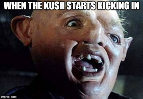 WHEN THE KUSH STARTS KICKING IN | image tagged in goonies guy | made w/ Imgflip meme maker