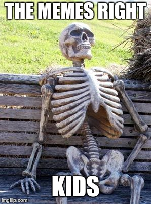 Waiting Skeleton Meme | THE MEMES RIGHT KIDS | image tagged in memes,waiting skeleton | made w/ Imgflip meme maker