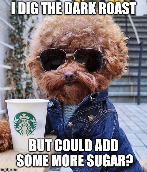 groovy | I DIG THE DARK ROAST BUT COULD ADD SOME MORE SUGAR? | image tagged in groovy | made w/ Imgflip meme maker