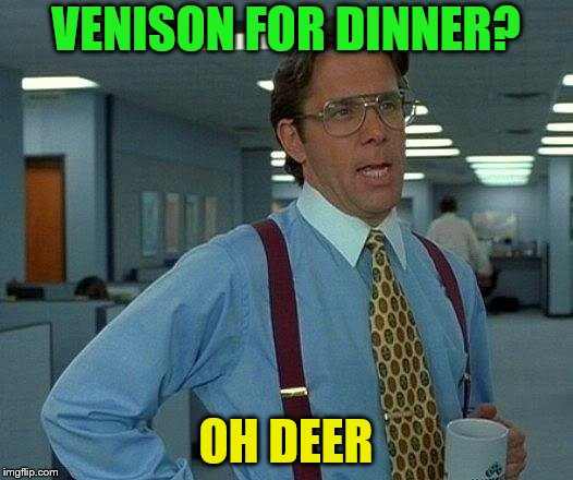 Get it? | VENISON FOR DINNER? OH DEER | image tagged in memes,that would be great,deer | made w/ Imgflip meme maker