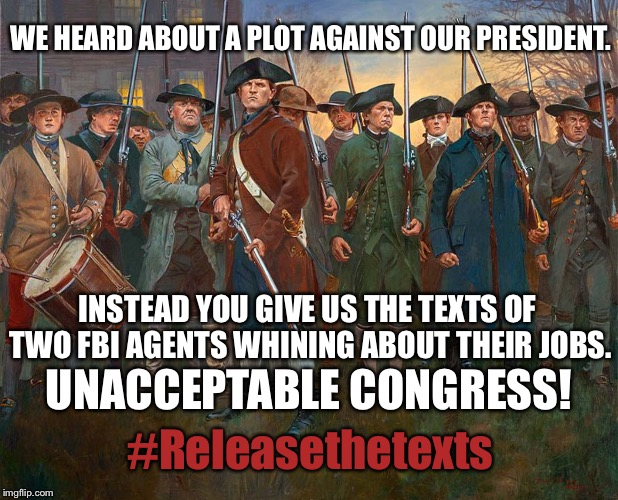 WE HEARD ABOUT A PLOT AGAINST OUR PRESIDENT. INSTEAD YOU GIVE US THE TEXTS OF TWO FBI AGENTS WHINING ABOUT THEIR JOBS. UNACCEPTABLE CONGRESS | image tagged in patriots,greatawakening | made w/ Imgflip meme maker