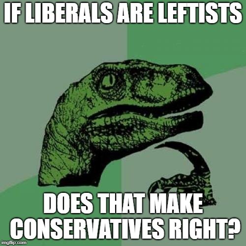 Philosoraptor Meme | IF LIBERALS ARE LEFTISTS DOES THAT MAKE CONSERVATIVES RIGHT? | image tagged in memes,philosoraptor | made w/ Imgflip meme maker