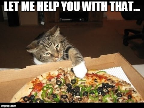 Cat Pawing Pizza | LET ME HELP YOU WITH THAT... | image tagged in cat,pizza cat,pizza | made w/ Imgflip meme maker