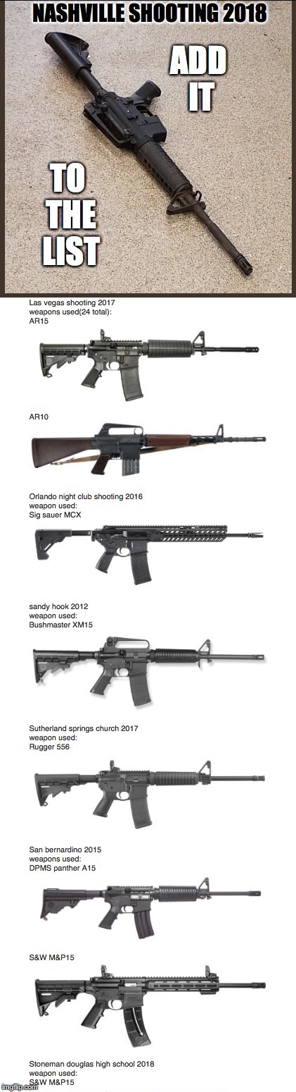 The List | image tagged in ar15,assault rifles,mass shooters,mass shootings,guns,gun control | made w/ Imgflip meme maker