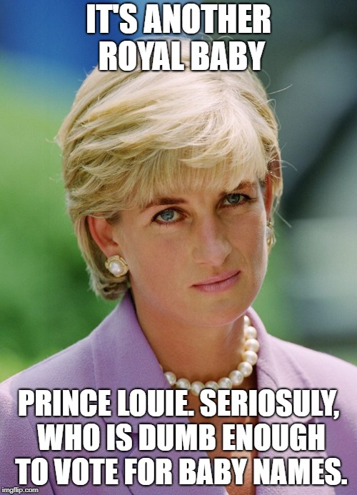 IT'S ANOTHER ROYAL BABY PRINCE LOUIE. SERIOSULY, WHO IS DUMB ENOUGH TO VOTE FOR BABY NAMES. | image tagged in unimpressed diana | made w/ Imgflip meme maker