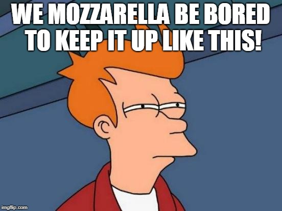 Futurama Fry Meme | WE MOZZARELLA BE BORED TO KEEP IT UP LIKE THIS! | image tagged in memes,futurama fry | made w/ Imgflip meme maker