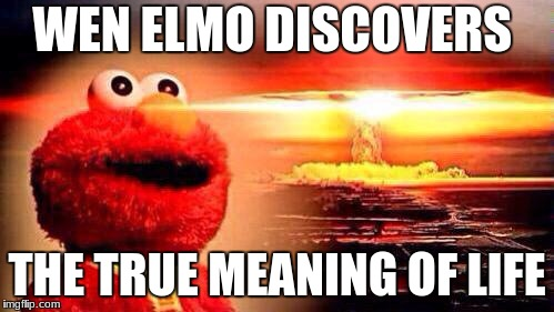 elmo nuke bomb |  WEN ELMO DISCOVERS; THE TRUE MEANING OF LIFE | image tagged in elmo nuke bomb | made w/ Imgflip meme maker