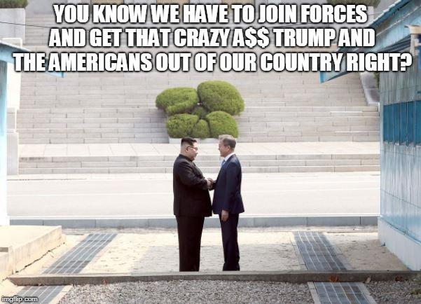 Join Forces to get the Americans out | YOU KNOW WE HAVE TO JOIN FORCES AND GET THAT CRAZY A$$ TRUMP AND THE AMERICANS OUT OF OUR COUNTRY RIGHT? | image tagged in korea,trump,americans | made w/ Imgflip meme maker
