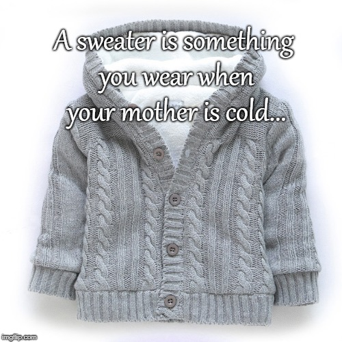 Wise words... | A sweater is something you wear when your mother is cold... | image tagged in sweater,mother,cold | made w/ Imgflip meme maker