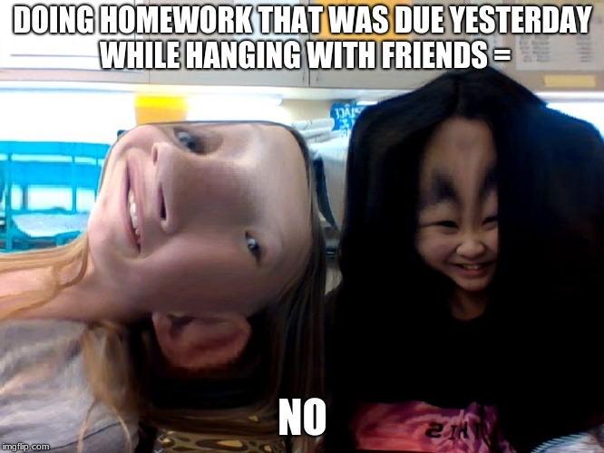 why not | DOING HOMEWORK THAT WAS DUE YESTERDAY WHILE HANGING WITH FRIENDS = NO | image tagged in homework | made w/ Imgflip meme maker