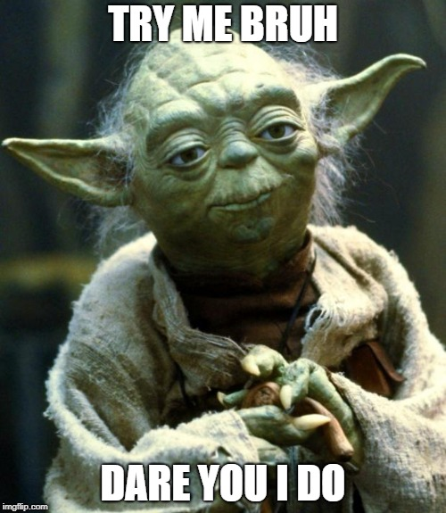 Star Wars Yoda Meme | TRY ME BRUH DARE YOU I DO | image tagged in memes,star wars yoda | made w/ Imgflip meme maker