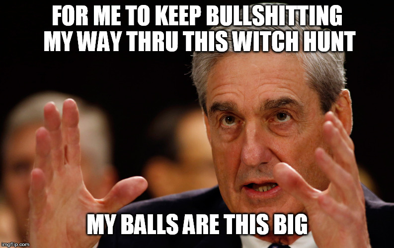 FOR ME TO KEEP BULLSHITTING MY WAY THRU THIS WITCH HUNT MY BALLS ARE THIS BIG | image tagged in mueller | made w/ Imgflip meme maker